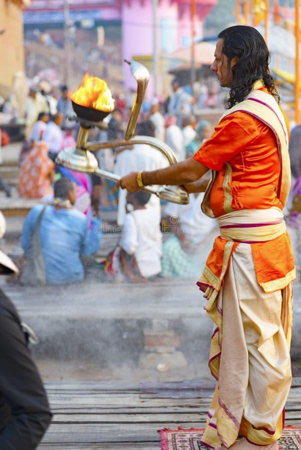 Great Pooja in Varanasi, India. May 2016 stock images