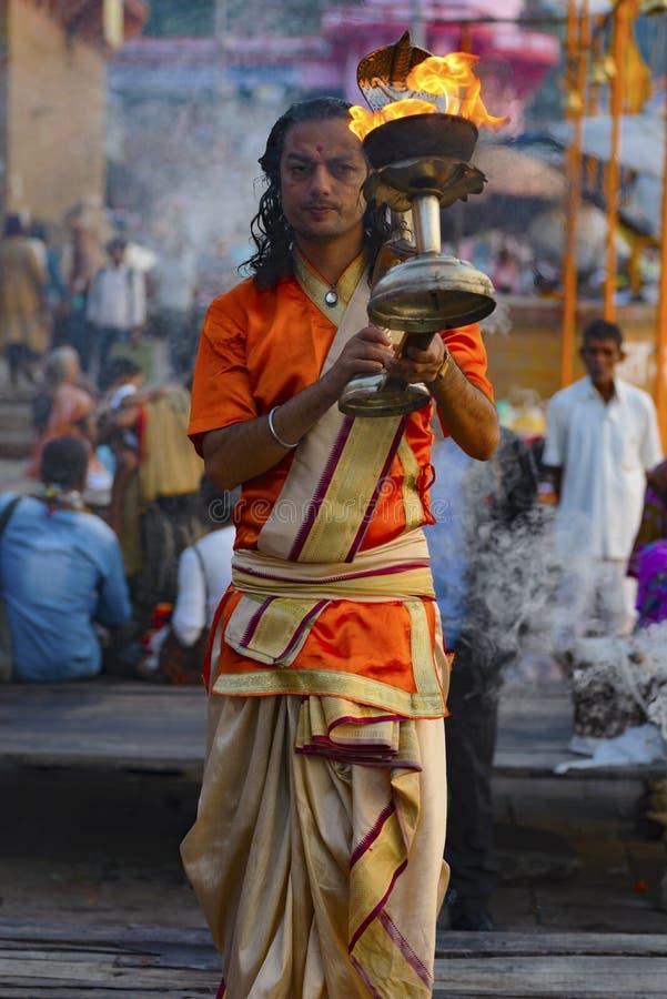 Great Pooja in Varanasi, India. may. 2016 royalty free stock photography