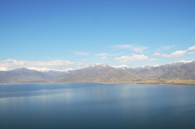 Great Prespa lake. View from above royalty free stock photo