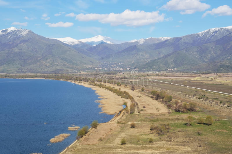 Great Prespa lake. View from above stock photo