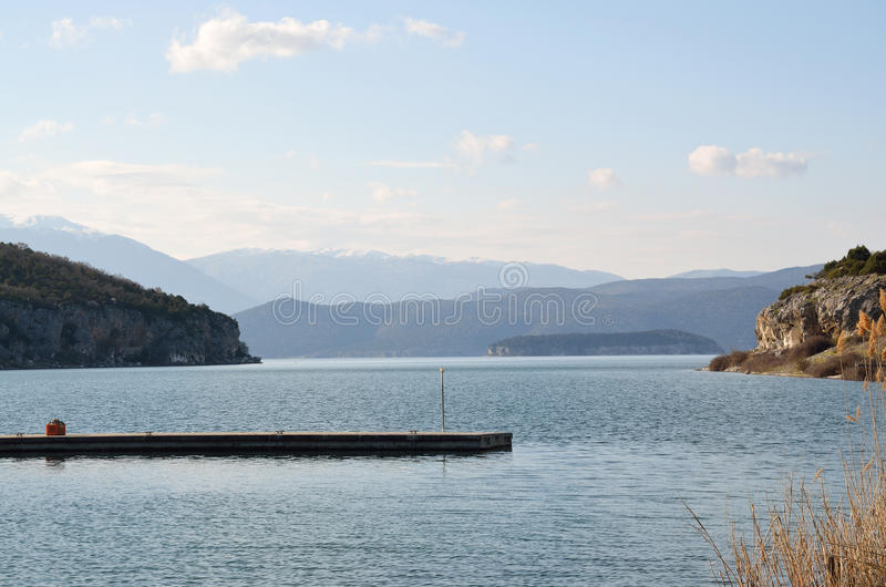 Great Prespa Lake. View from small port of village Psarades stock photo
