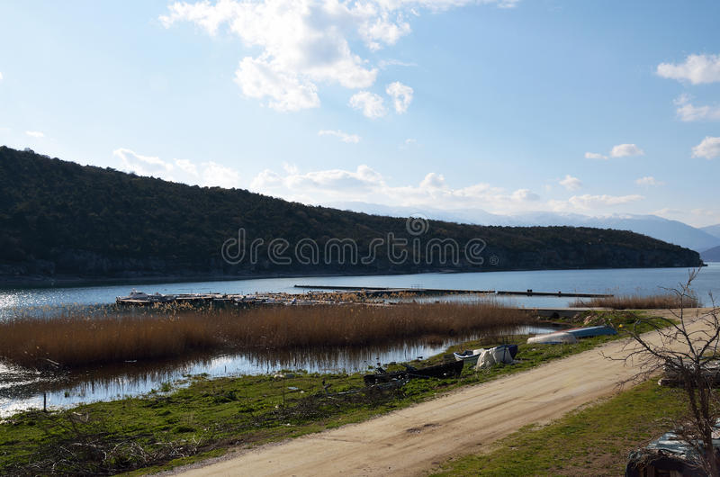 Great Prespa Lake. View from small port of village Psarades stock image