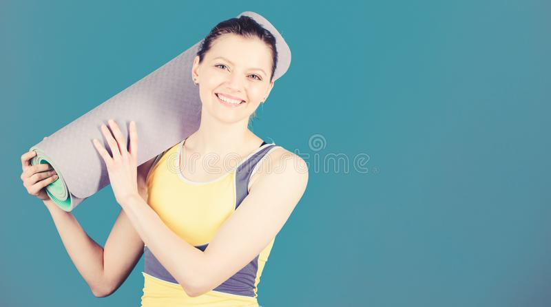 Great progress. Athlete yoga coach. Yoga class concept. Yoga as hobby and sport. Practicing yoga every day. Girl slim royalty free stock photography