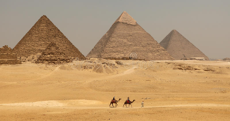 The Great pyramid with camel royalty free stock photos