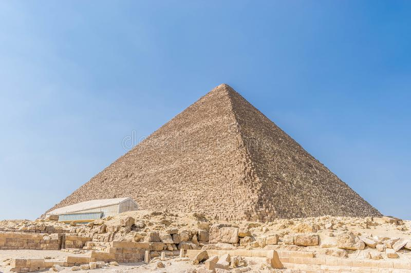 The tallest man-made structure of the ancient world. The Great Pyramid of Giza also known as the Pyramid of Khufu or the Pyramid of Cheops is the oldest and stock images