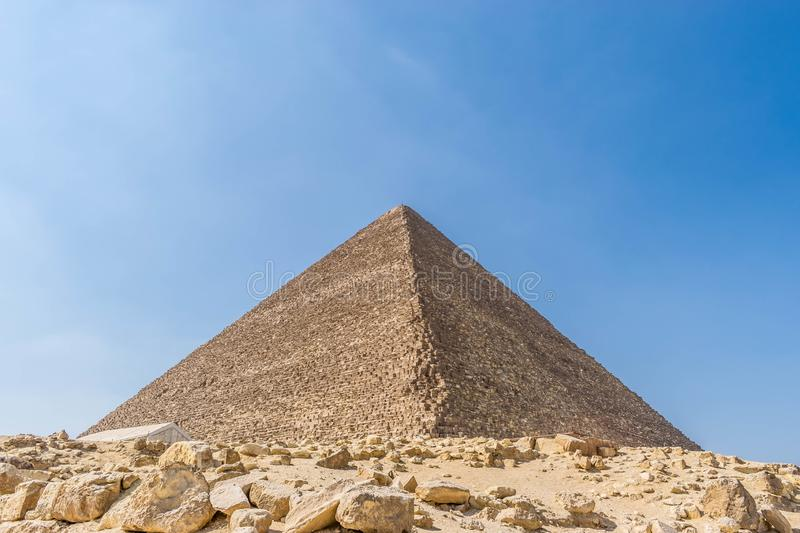 The tallest building of the ancient world. The Great Pyramid of Giza also known as the Pyramid of Khufu or the Pyramid of Cheops is the oldest and largest of the stock images