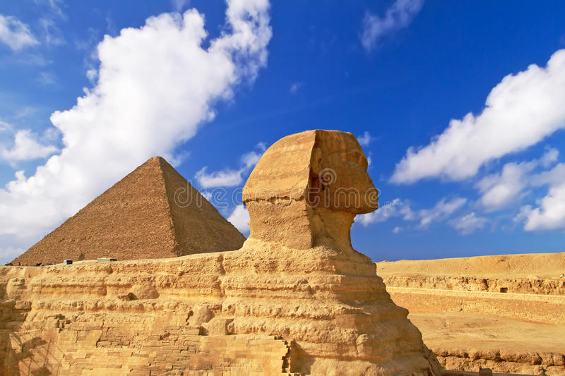 The Great Pyramid of Giza. Sphinx and Pyramid of Chefren in Giza, Egypt stock images