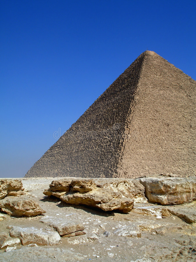 Great Pyramid I. View of The Great Pyramid of Cheops, Giza Plateau, Cairo, Egypt royalty free stock photo