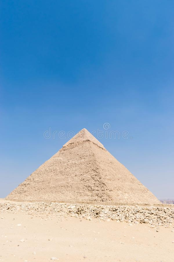 Great pyramid of Khafre, Egypt. The Pyramid of Khafre or of Chephren is the second-tallest and second-largest of the Ancient Egyptian Pyramids of Giza and the royalty free stock photo