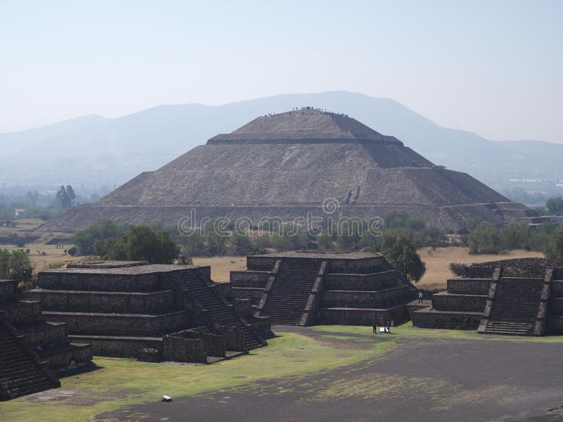 Great pyramid of the Sun at Avenue of the Dead in Teotihuacan ruins near Mexico city landscape stock image