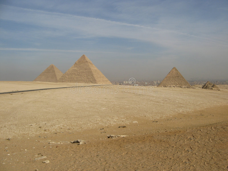 The great pyramids. Of Egypt under a sunny sky royalty free stock photography