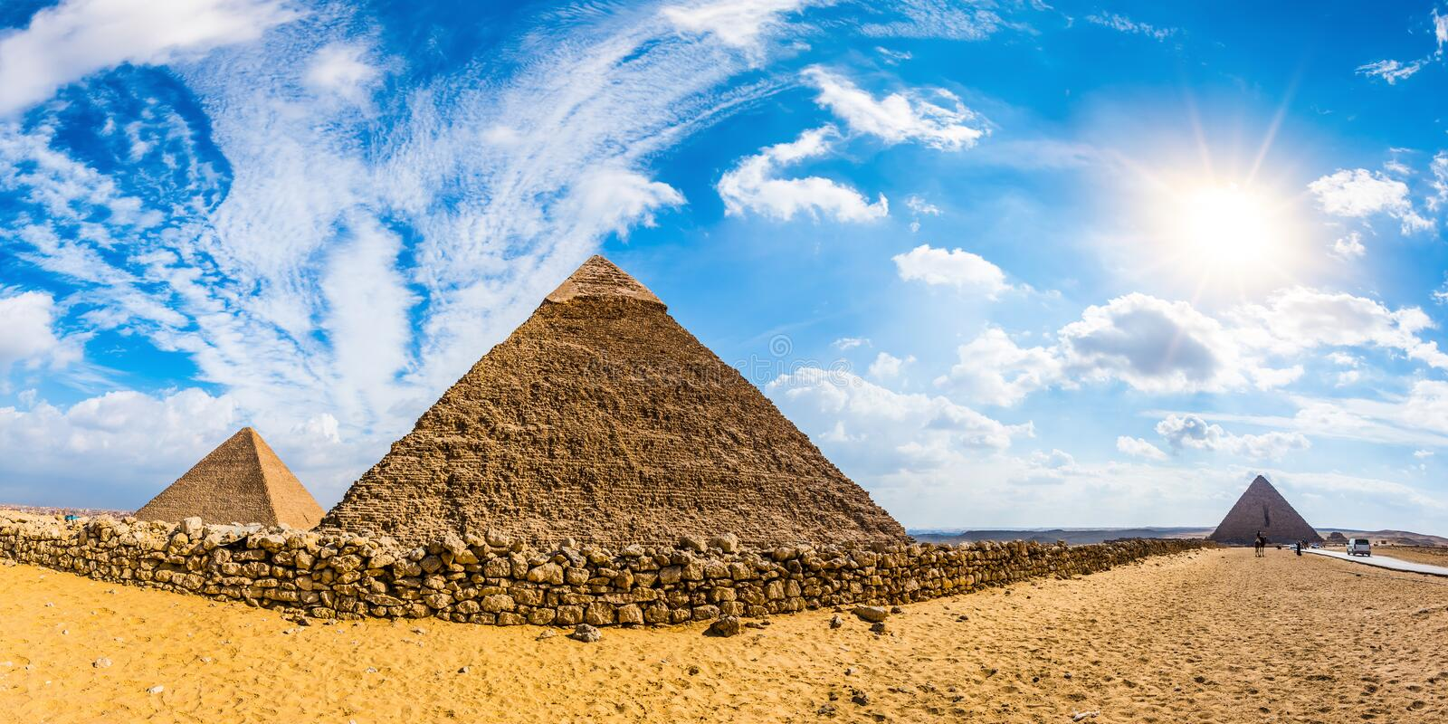 The great pyramids of Giza, Egypt. Panorama of the area with the great pyramids of Giza, Egypt royalty free stock photography