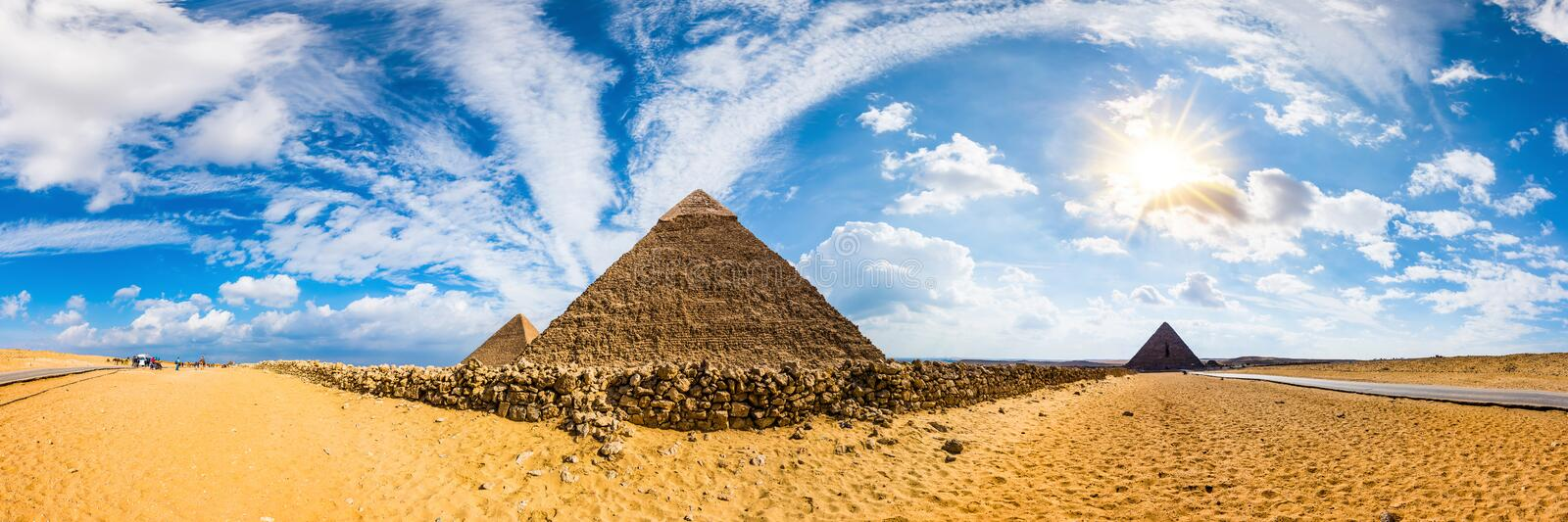 The great pyramids of Giza, Egypt. Panorama of the area with the great pyramids of Giza, Egypt stock image
