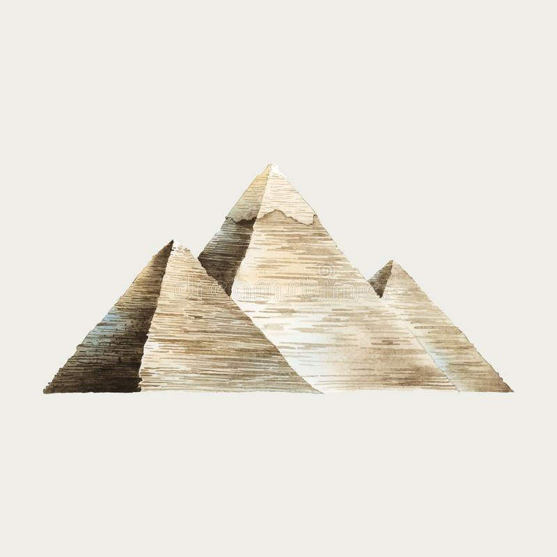 The Great Pyramids of Giza watercolor illustration royalty free illustration