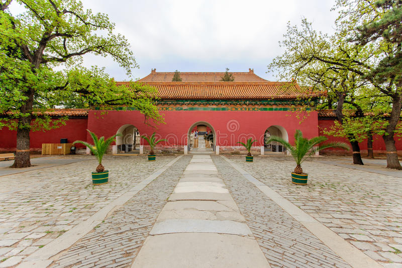 Great red entrance gate of Ming Tombs Scenic Area. Beijing stock photos