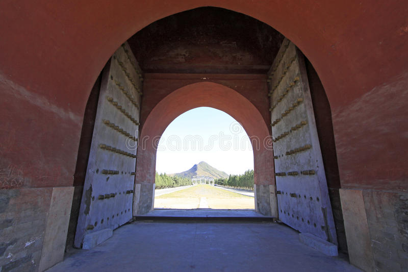 Great Red Gate and Venus Mountains in the Eastern Royal Tombs of royalty free stock images