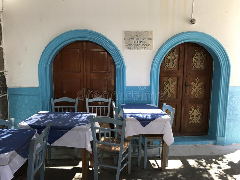Great restaurant on Rhodes island in Greece, small and chic stock images