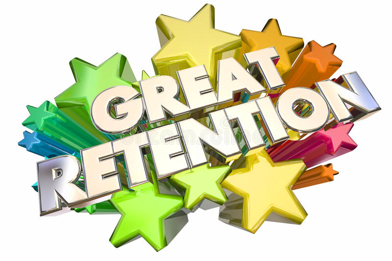 Great Retention Customers Employees Stars Words vector illustration