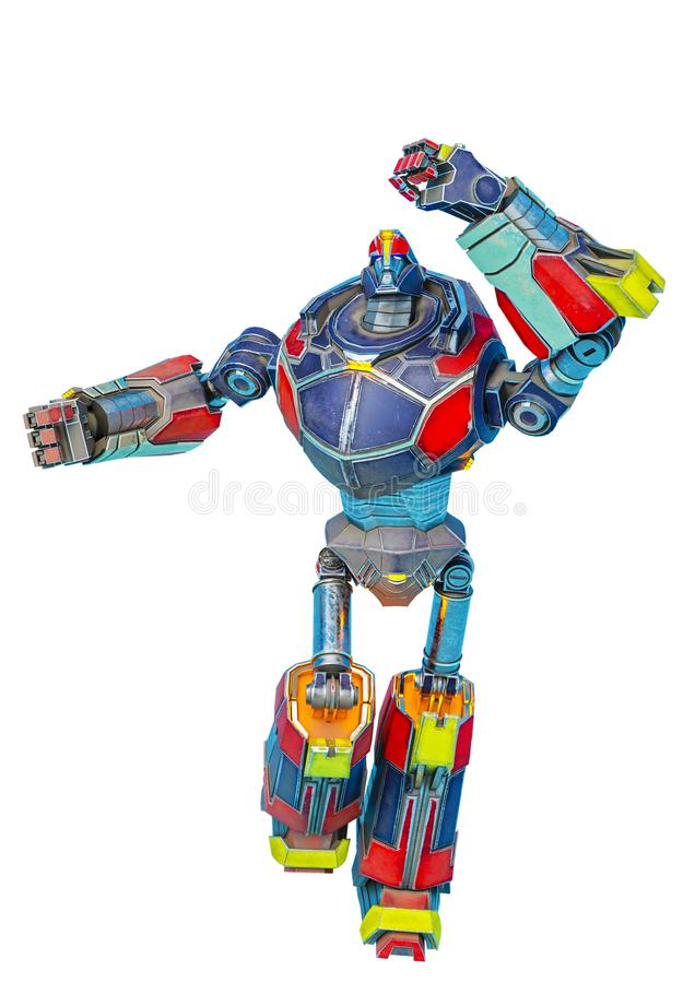 Great robot running in a white bacground. This robot in clipping path is very useful for graphic design creations, 3d illustration vector illustration