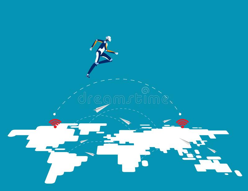 Great robot technology leap forward. Concept business vector illustration, Innovation, Jump, Successful royalty free illustration