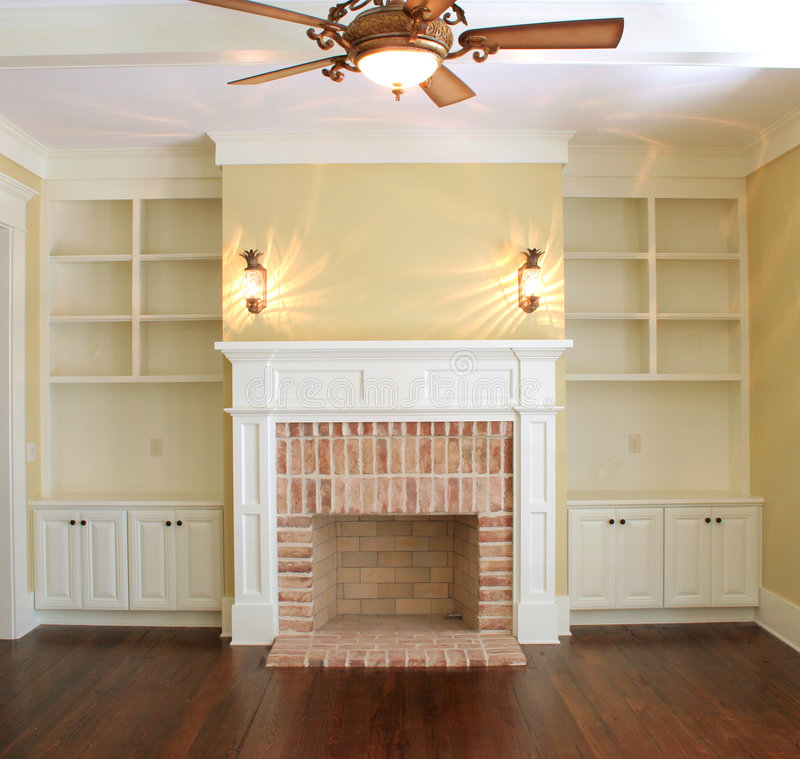 Download Great room with fireplace stock photo. Image of nobody - 4039616