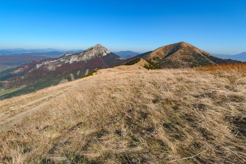 The Great Rozsutec hill in Vratna valley at the national park Mala Fatra. In sunny day stock photo