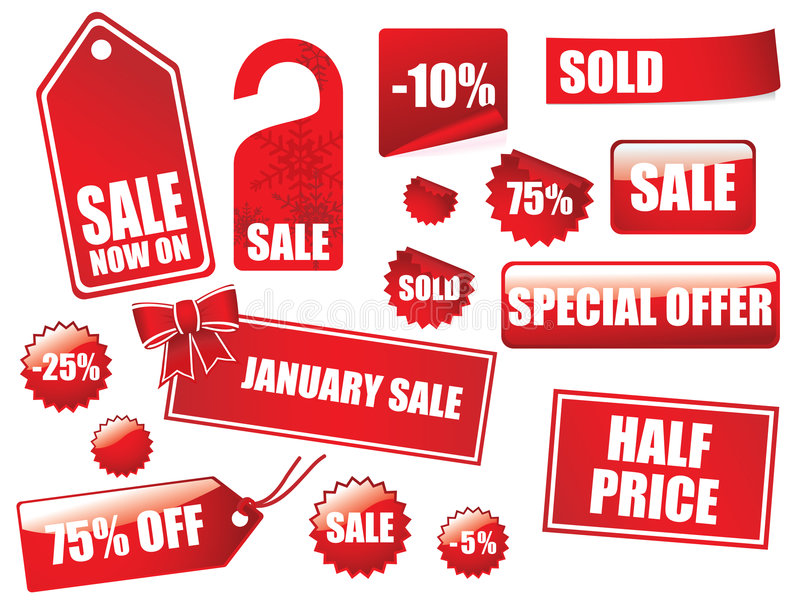Great sales tags and stickers collection royalty free illustration