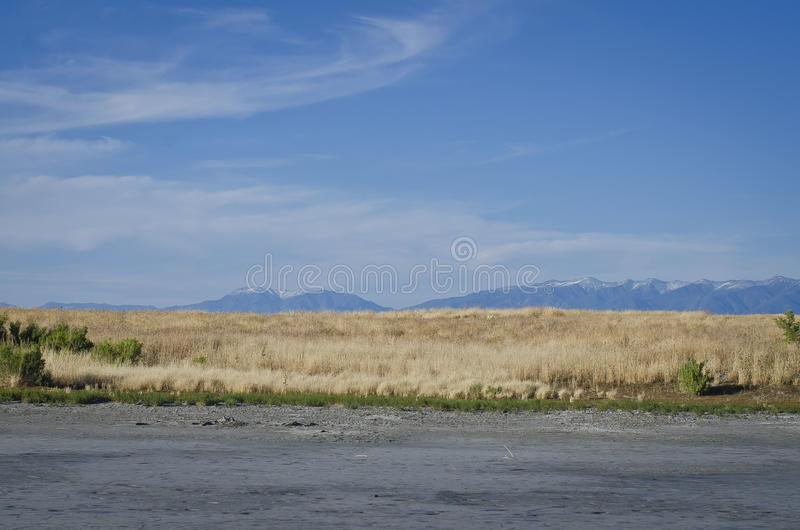 Great Salt Lake Landscape. Mountains in the background of the great sale lake stock photo
