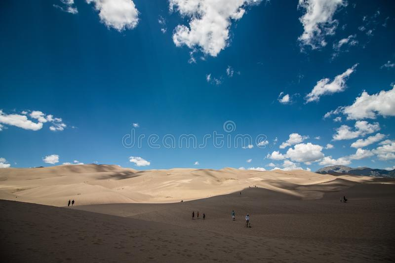 Great sand dunes national park landscape views scenery. Great sand dunes national park of colorado hiking and adventure views from the beginning of the trek stock photography
