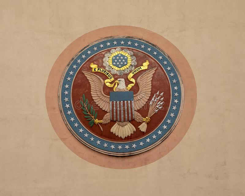 The Great Seal of the United States on the outside front of the Tower Building in Fair Park in Dallas, Texas. Pictured is the front side of The Great Seal of stock images