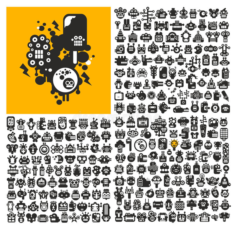 Great set of robot faces. vector illustration