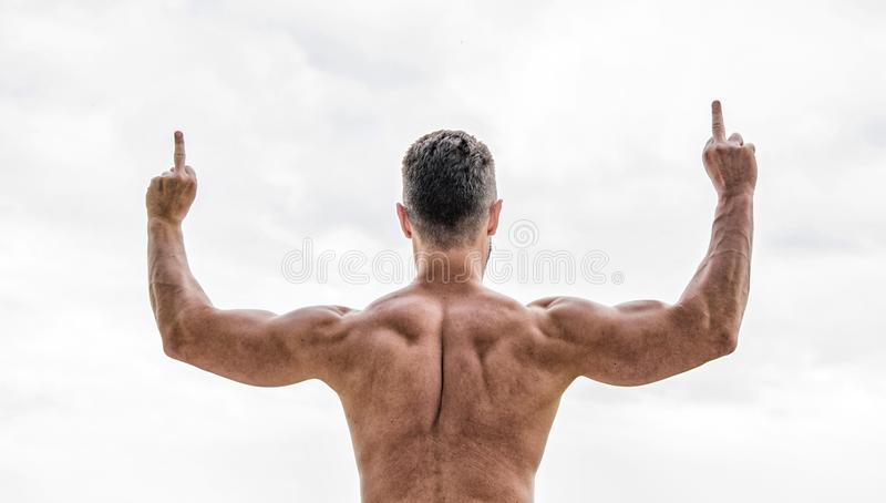 Great shape. Achieve success. Successful athlete. Victory and success. Champion and winner concept. Man celebrating. Success. Bodybuilder strong muscular body royalty free stock photo