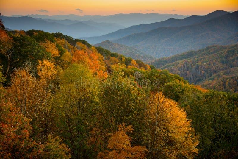 Great Smoky Mountains bij Zonsondergang stock foto