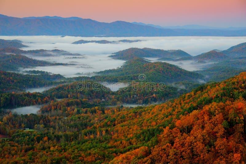 Great Smoky Mountains bij Zonsopgang stock fotografie