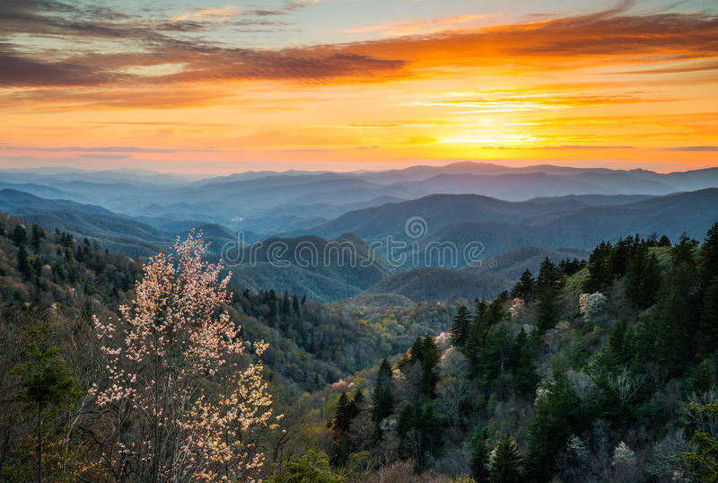 Great Smoky Mountains National Park Cherokee North Carolina Scenic Landscape. In the Blue Ridge Mountains of western NC stock photos