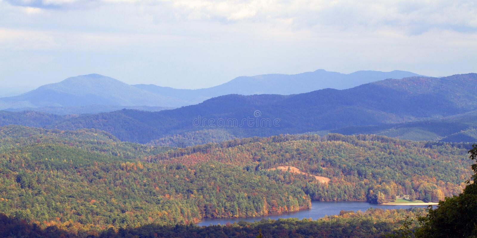 Great Smoky Mountains National Park. Great Smoky Mountains and Indian Boundary Lake from Cherohala National Scenic Byway, USA stock photo