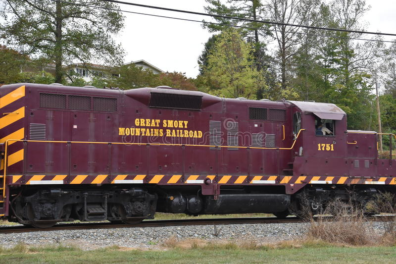 Great Smoky Mountains Railroad in Bryson City, North Carolina. USA stock image