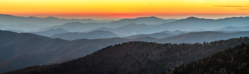 Great Smoky Mountains-Zonsondergang royalty-vrije stock afbeelding