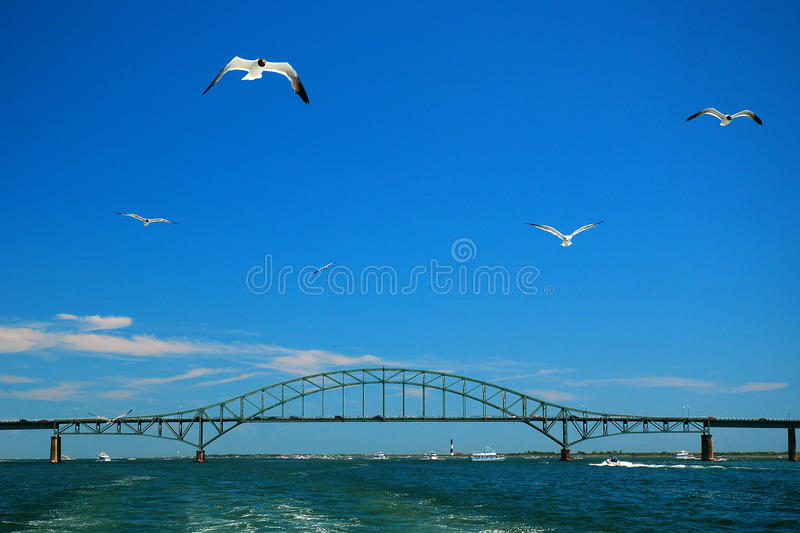 On the Great South Bay. The Robert Moses Causway spans the Great South Bay in Long Island, New York stock photography
