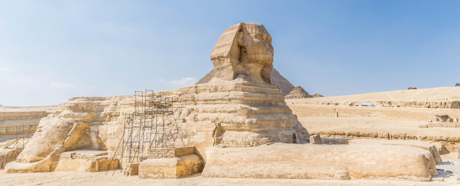 The Great Sphinx in Egypt. The Great Sphinx of Giza. Commonly referred to as the Sphinx of Giza or just the Sphinx, is a limestone statue of a reclining sphinx stock photos