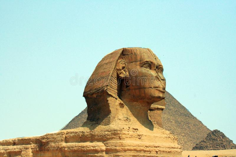 Great Sphinx of Giza in front of the Great Pyramid, Egypt stock photo