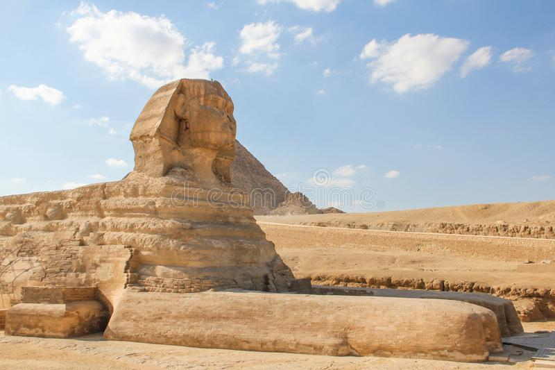 The great Sphinx at the Giza pyramids complex, architectural monument in Egypt. Photo taken in egypt clear weather photo taken in egypt clear weather stock photography