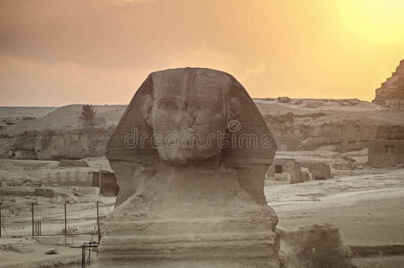 The Great Sphinx of Giza on a sunset background stock photography