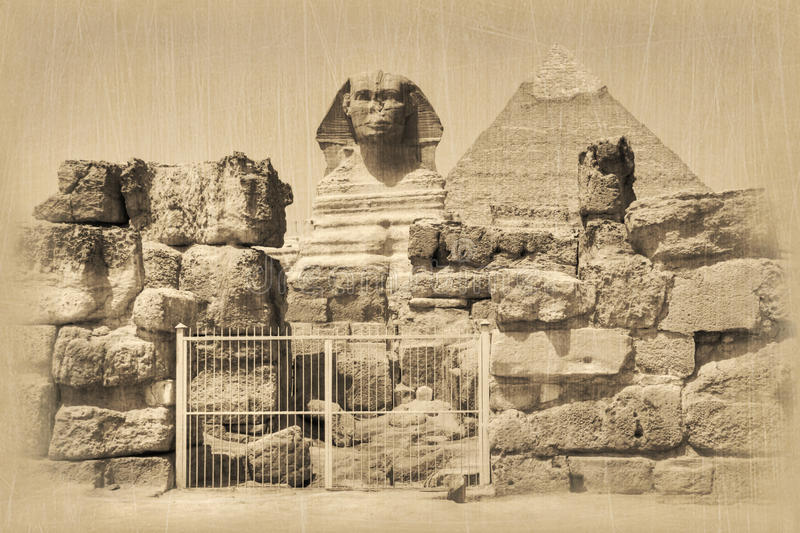 Great Sphinx and Khafre Pyramid. Old style photo of Great Sphinx and Khafre pyramid, Giza necropolis, Egypt royalty free stock photo