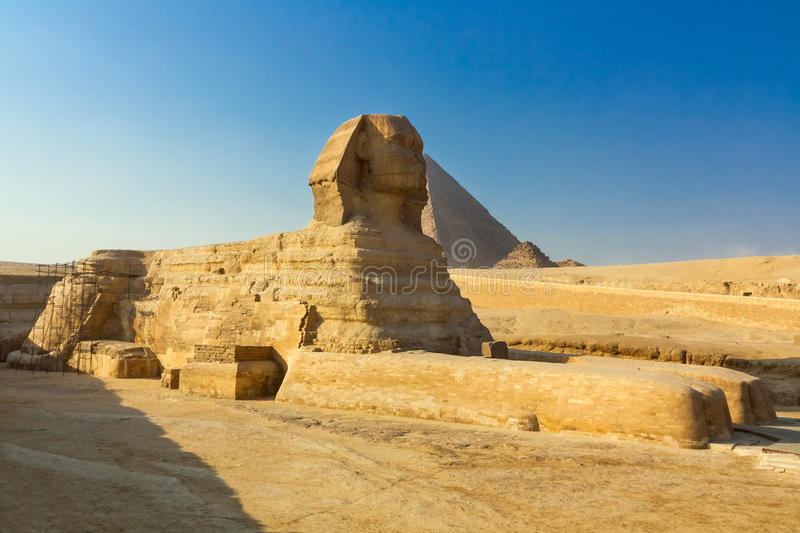 The Great Sphinx and the Pyramid of Khafre in Giza. Cairo, Egypt royalty free stock images