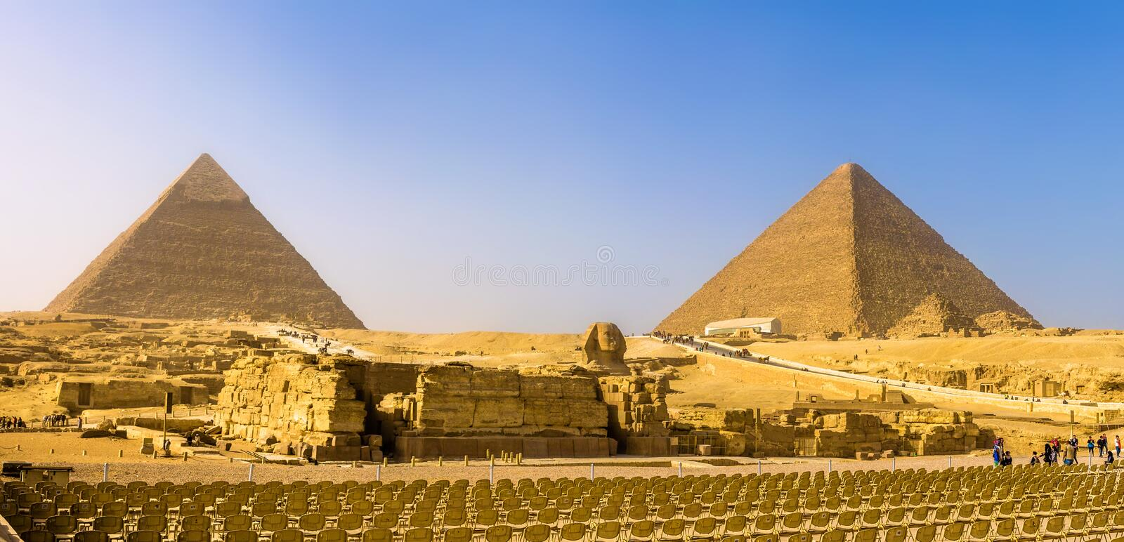 The Great Sphinx and the Pyramids of Giza. Egypt royalty free stock photo