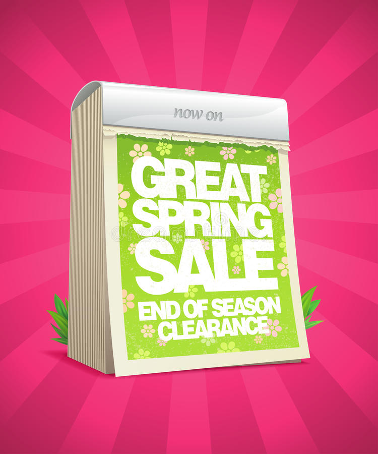 Great spring sale poster in form of tear-off calen stock illustration