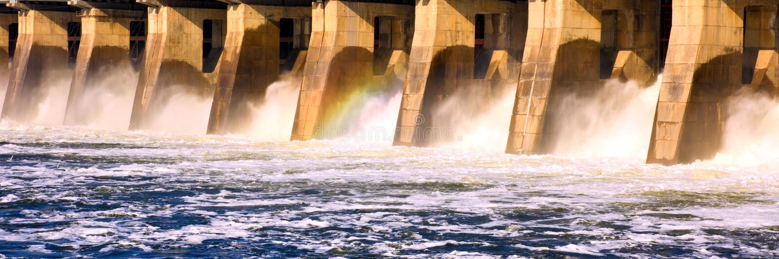 The Great Spring Water Discharge at the Zhiguli Dam near the city of Tolyatti on the Volga River. royalty free stock photo