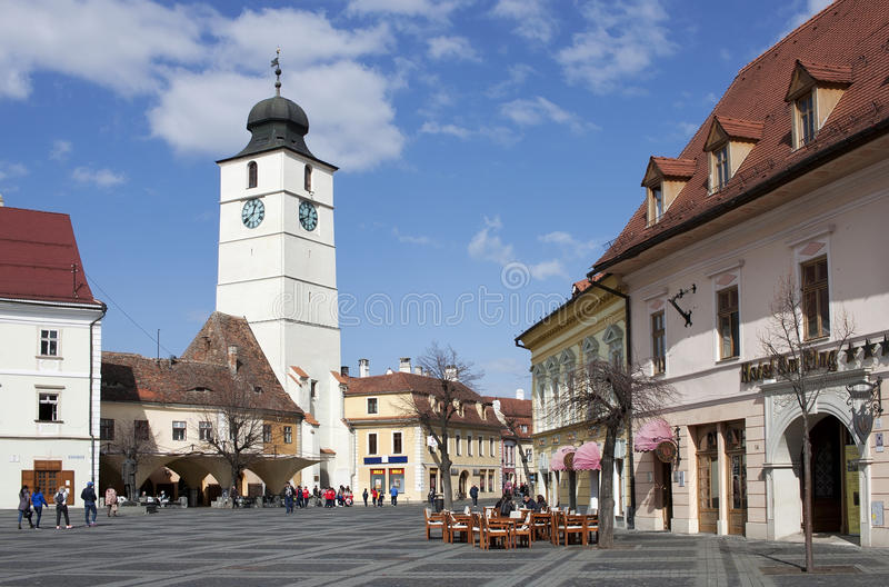 Great square in Sibiu Romania. With council tower in the background royalty free stock photo