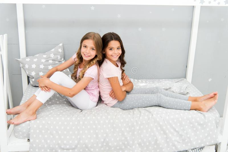 Great start of day. Children cheerful play bedroom. Happy childhood moments. Joy and happiness. Happy together. Kids royalty free stock image